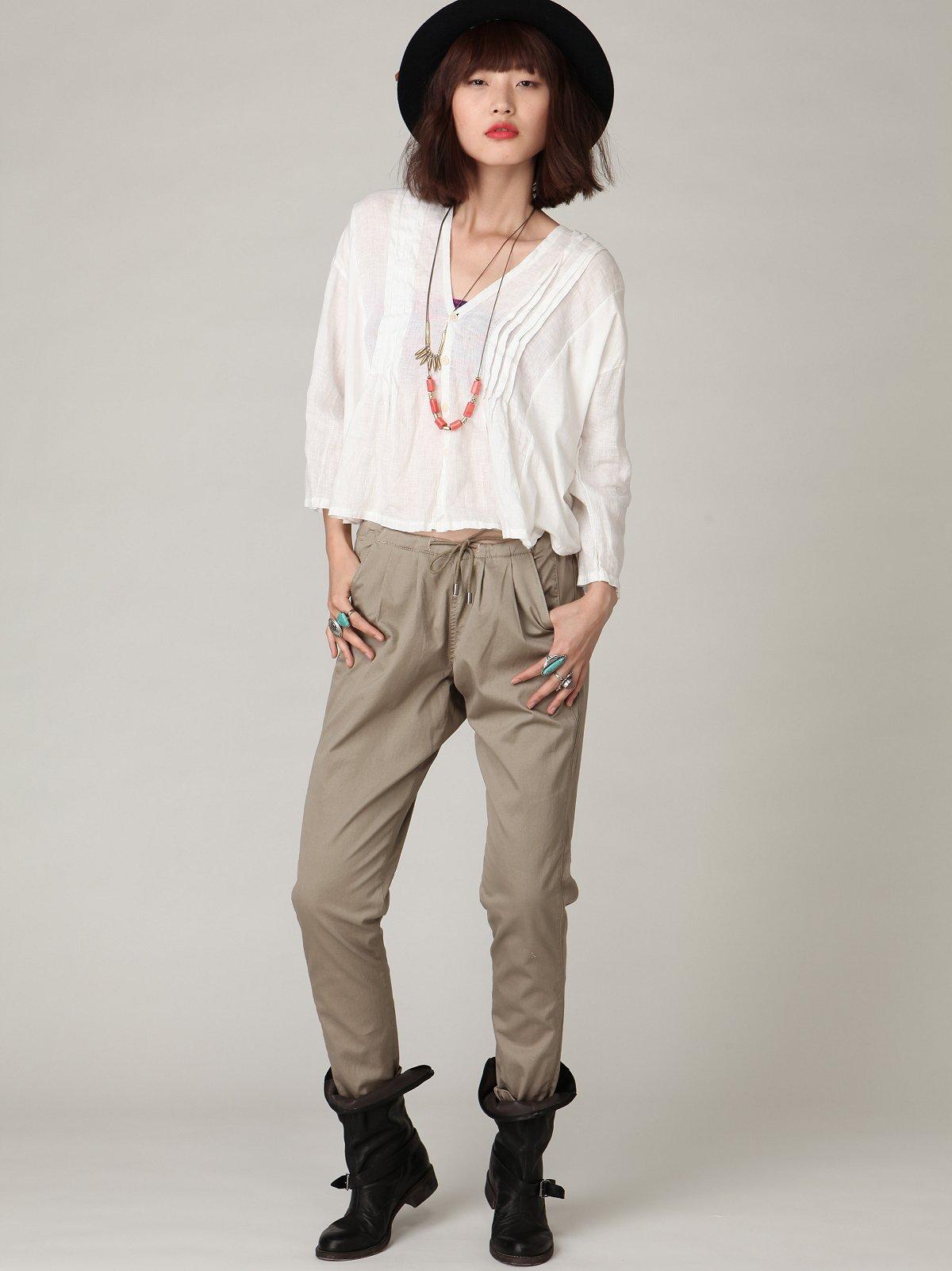 Blank Khaki Drawstring Pant