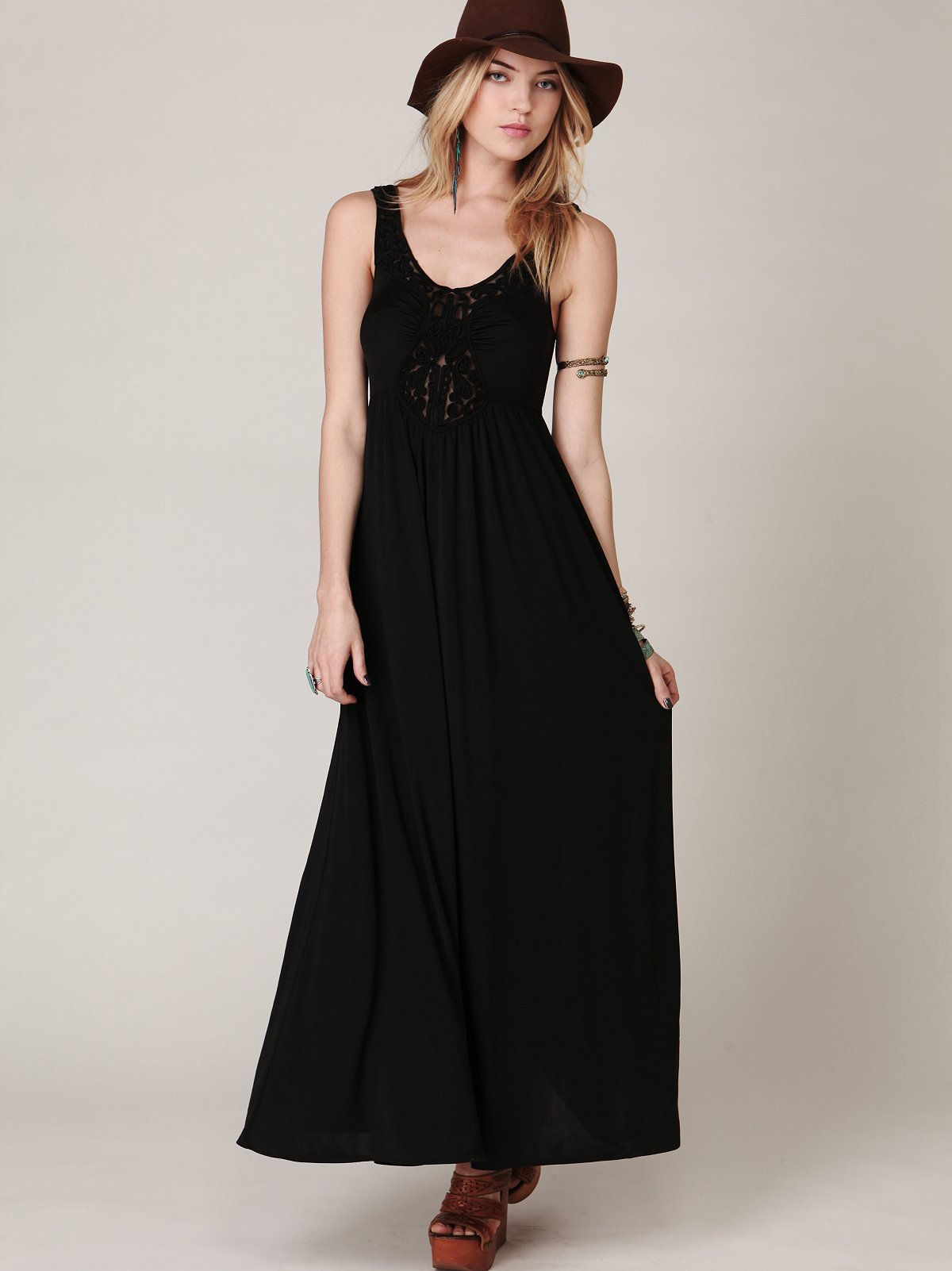 Embroidered Maxi Solid Dress