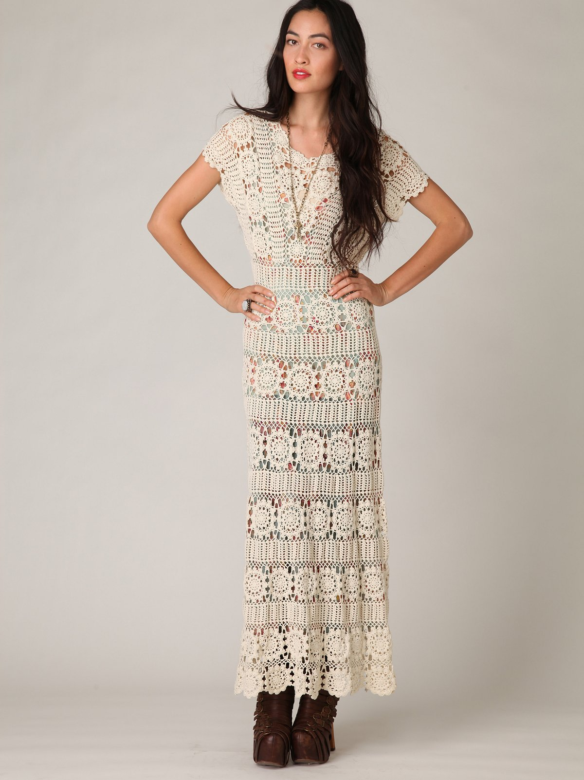 Hand Crochet Maxi Dress at Free People Clothing Boutique