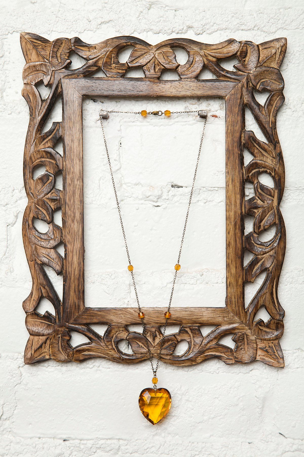 Vintage Yellow Heart Crystal Necklace