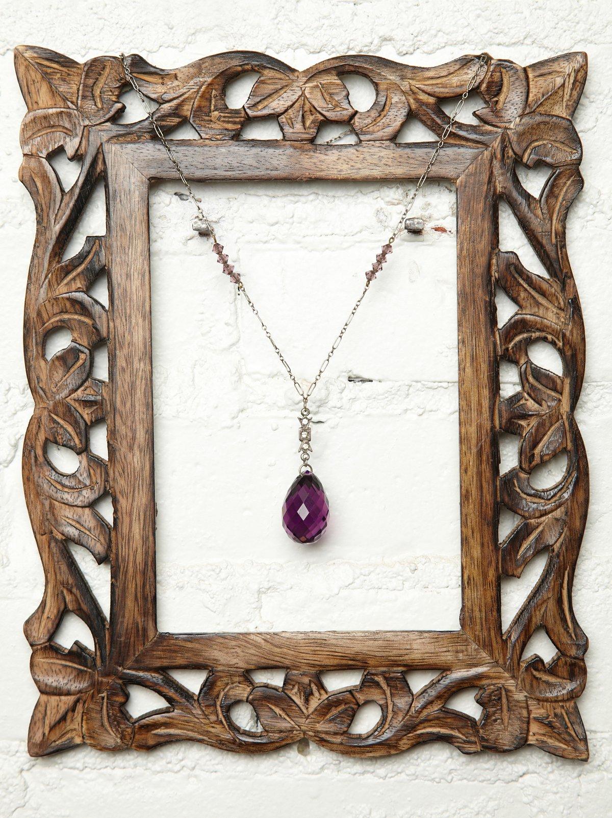 Vintage Purple Oval Necklace