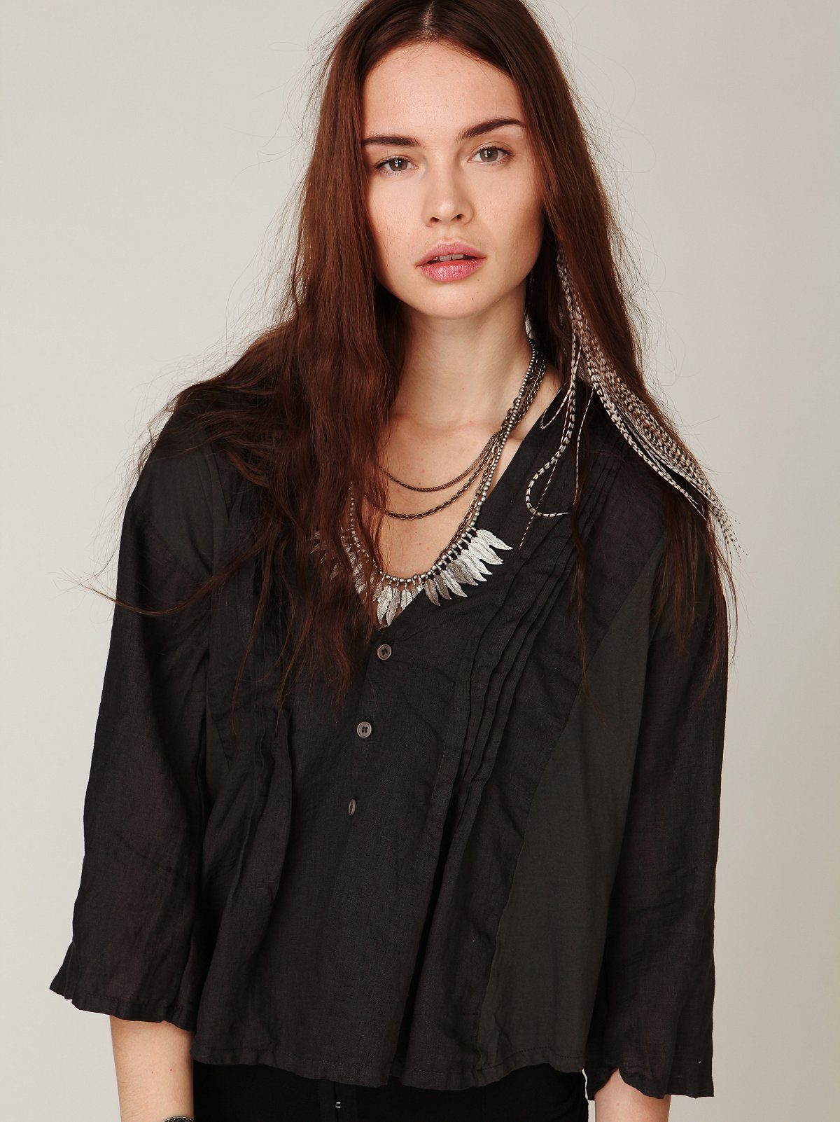 CP Shades Solid Cropped Buttondown Shirt