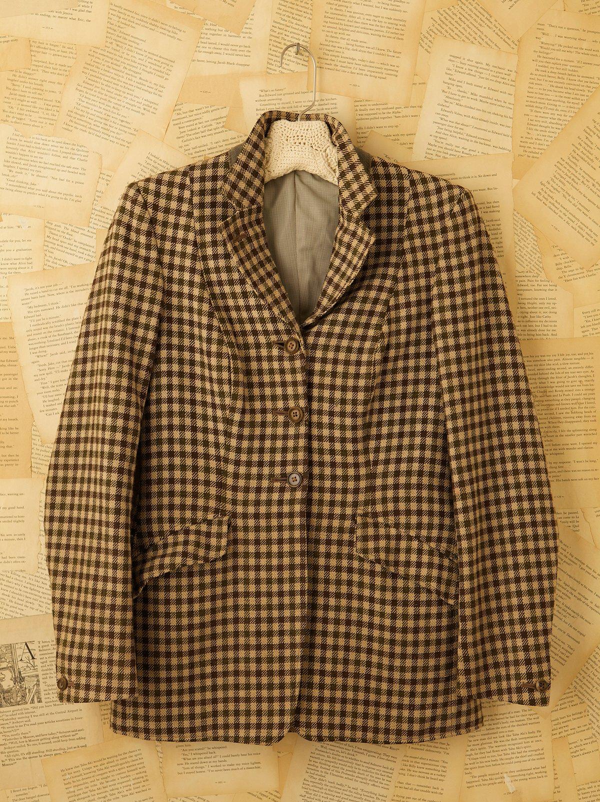 Vintage Wool Check Blazer