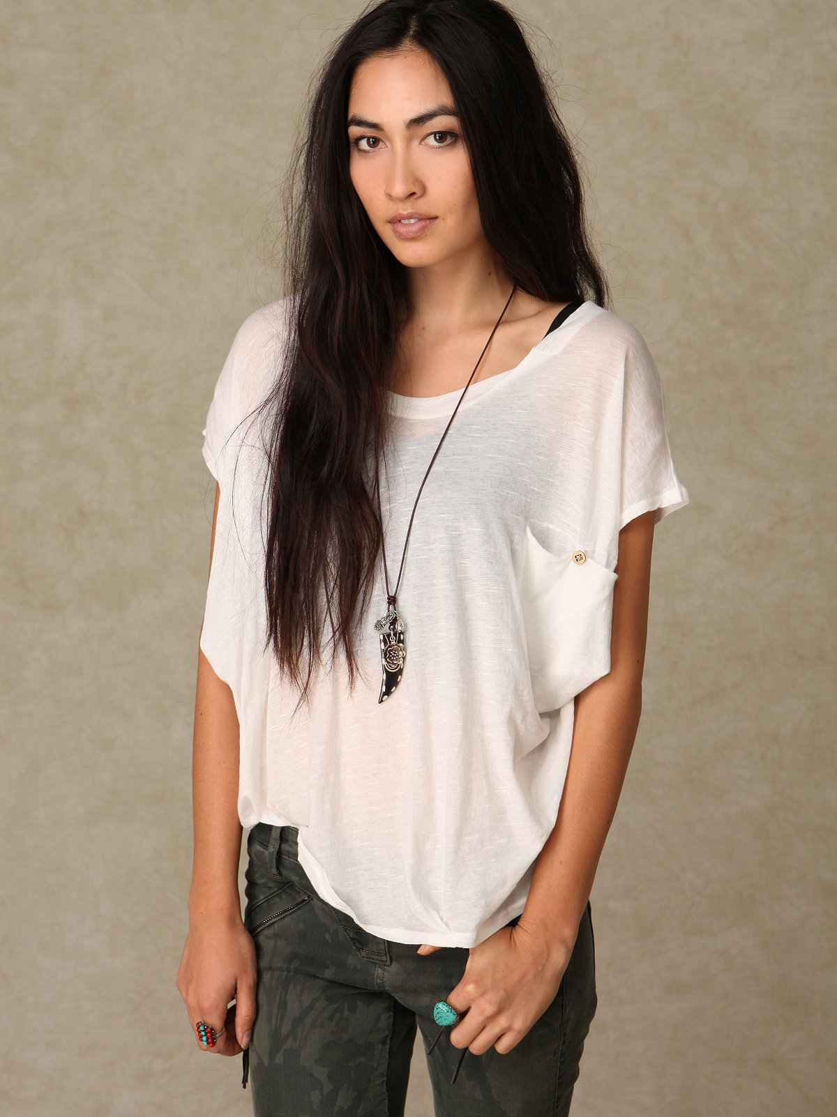 Solid Slouchy Sheer Pocket Tee