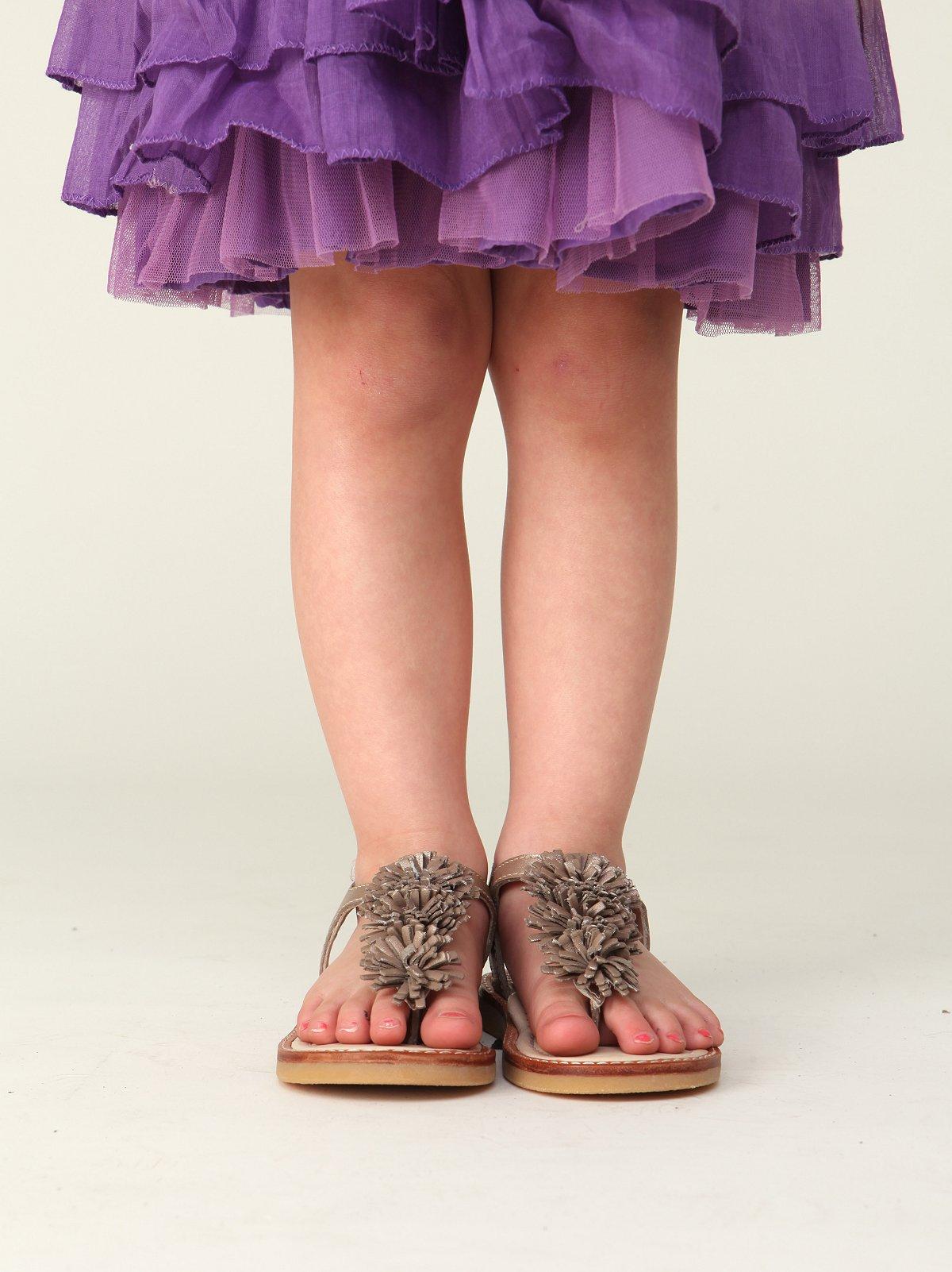 Wee People Girls Metallic Pom Pom Sandal
