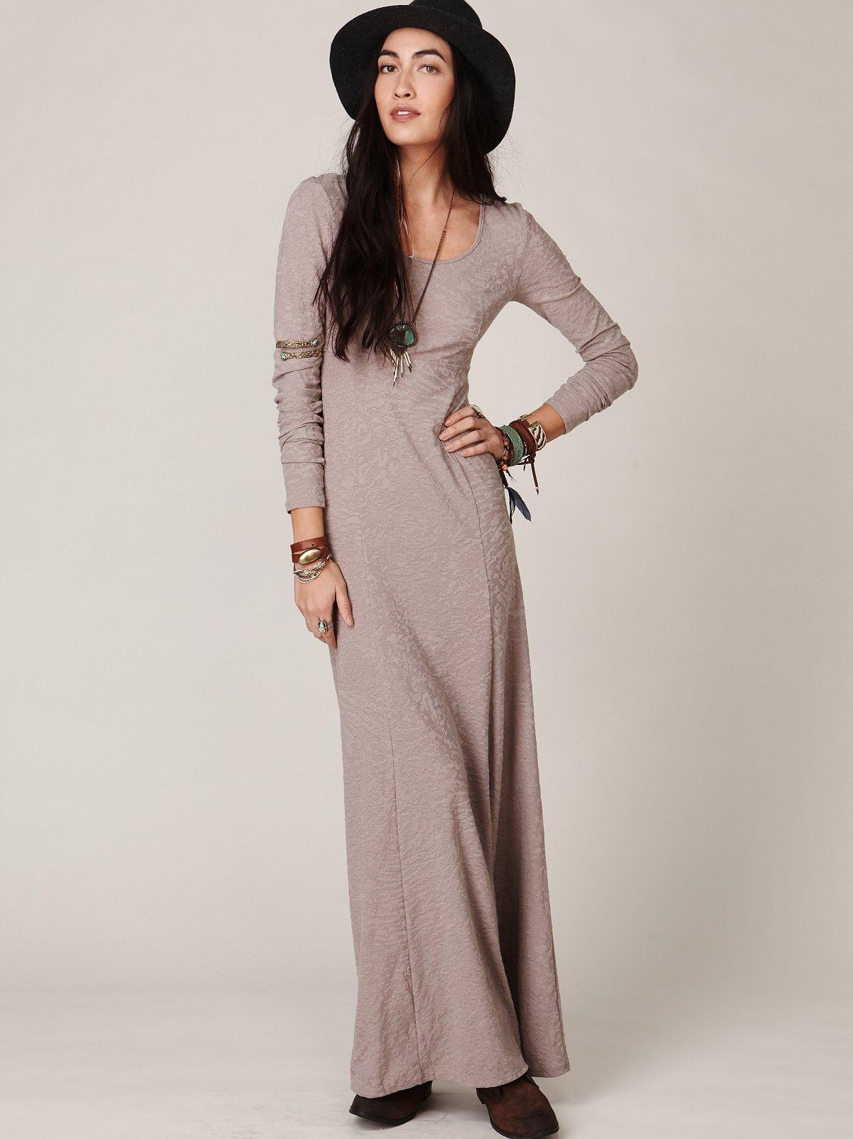 Maxi Scoop Long Sleeve Dress