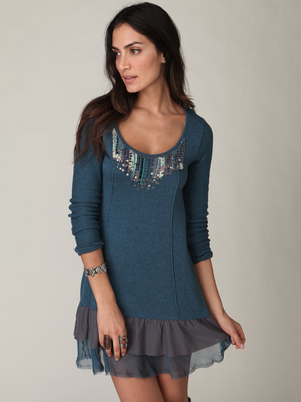 Embroidered Ruffle Hem Tunic