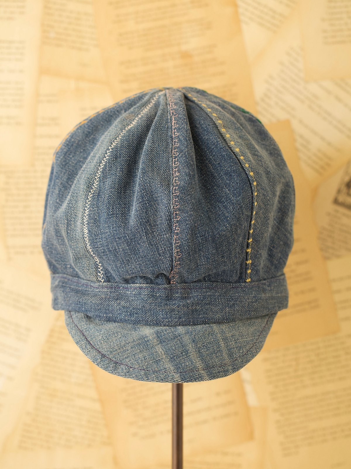 Vintage Denim Hat with Colored Stitching