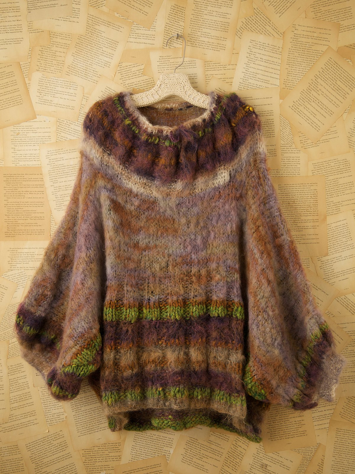 Vintage Multicolored Sweater Poncho