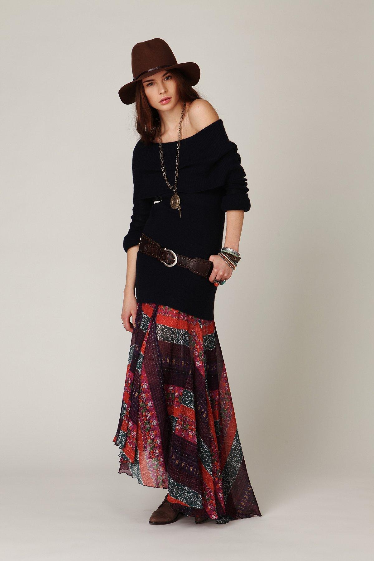 Multi Stripe Maxi Skirt