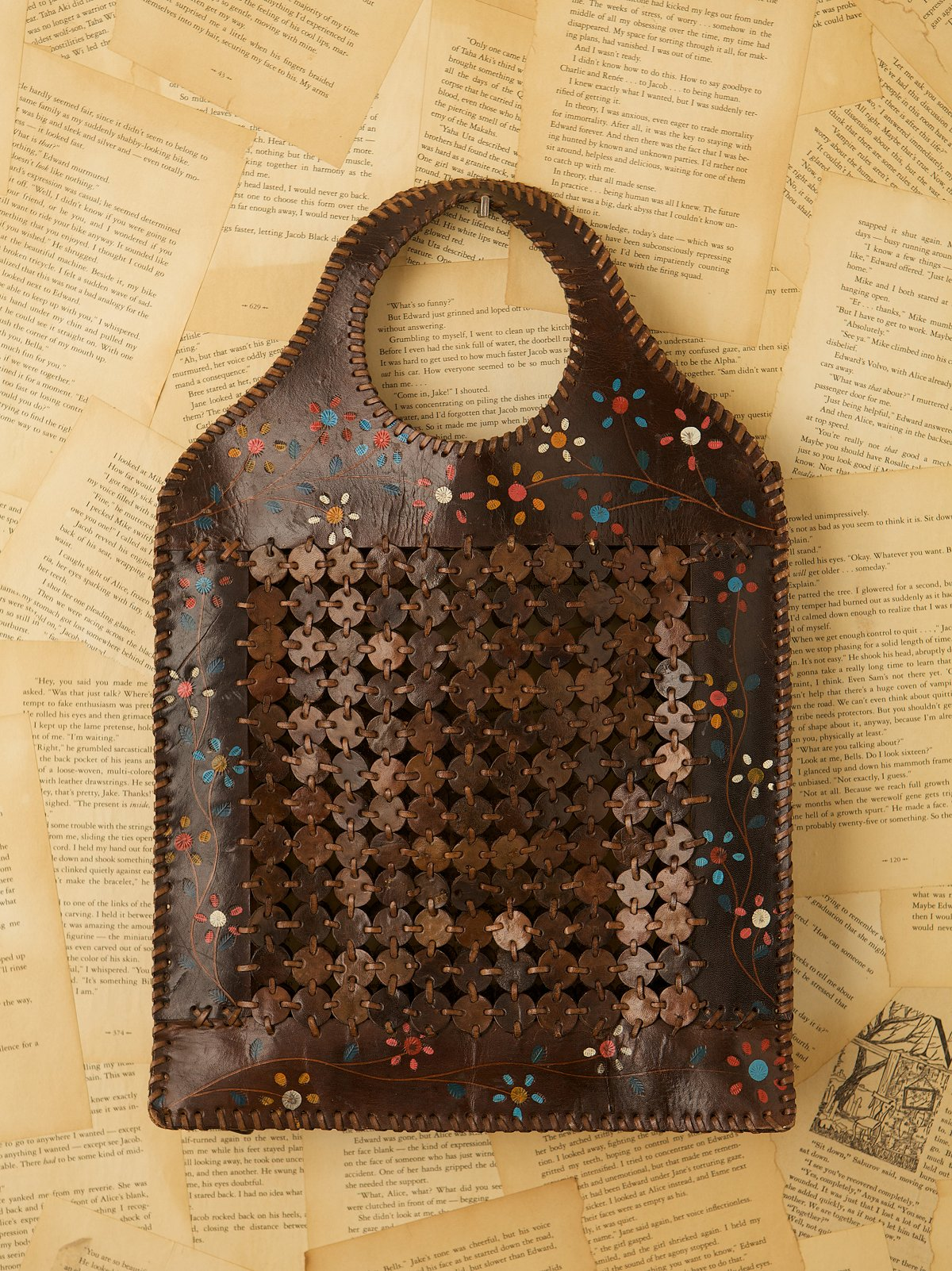 Vintage Wood and Leather Clutch