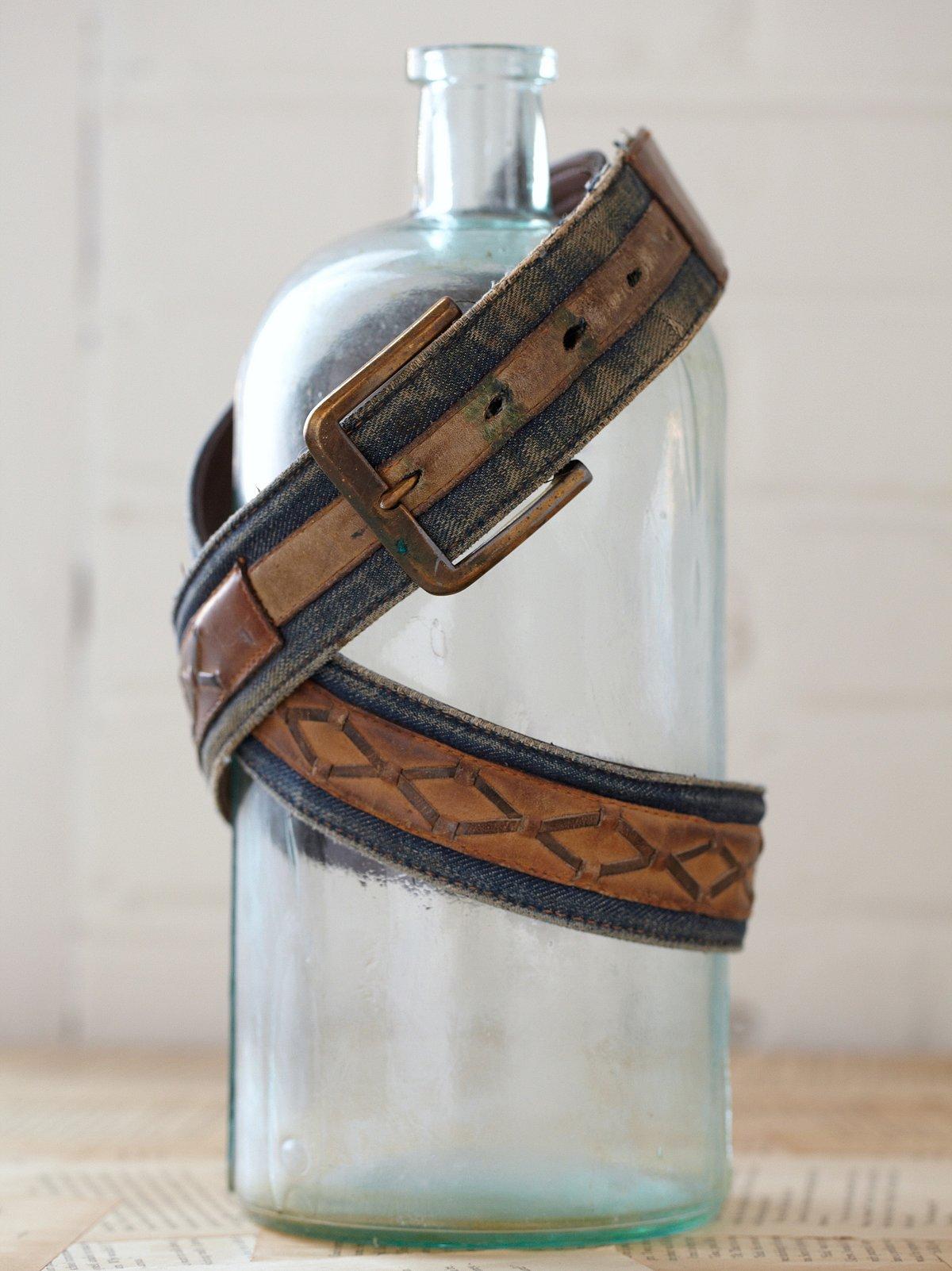 Vintage Denim and Leather Belt