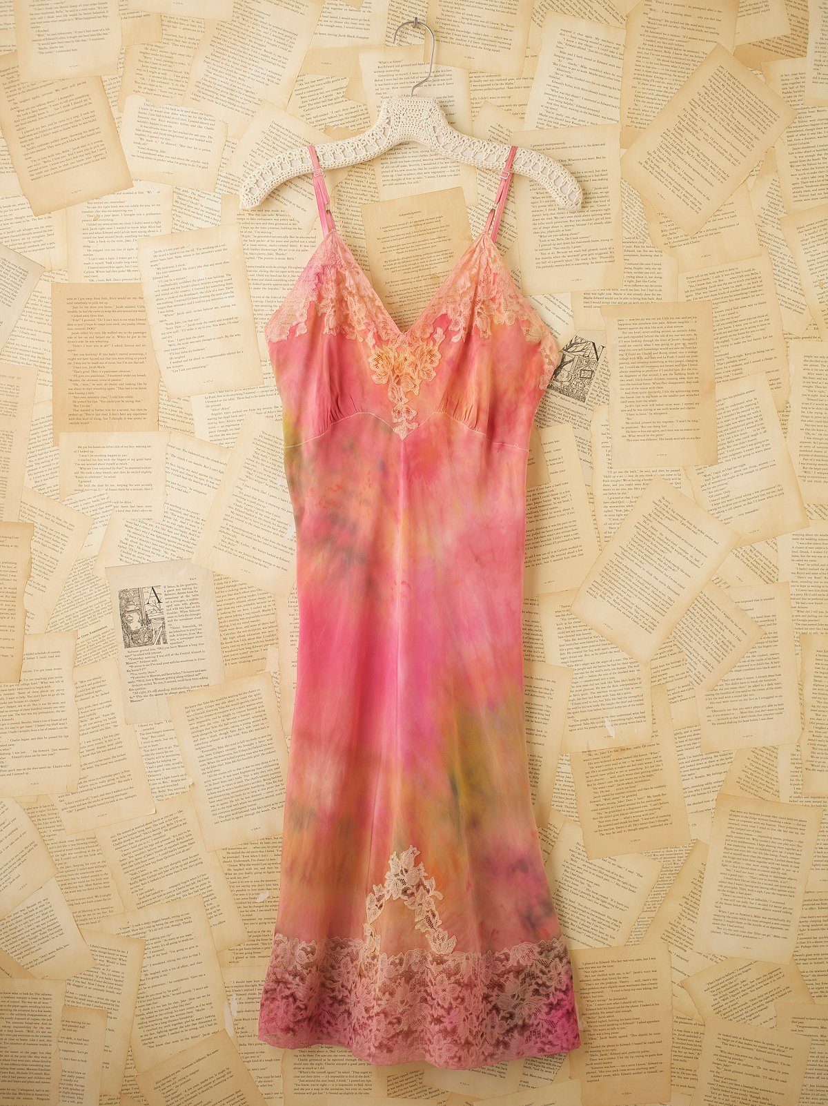 Vintage 1940s Hand Dyed Silk Slip Dress