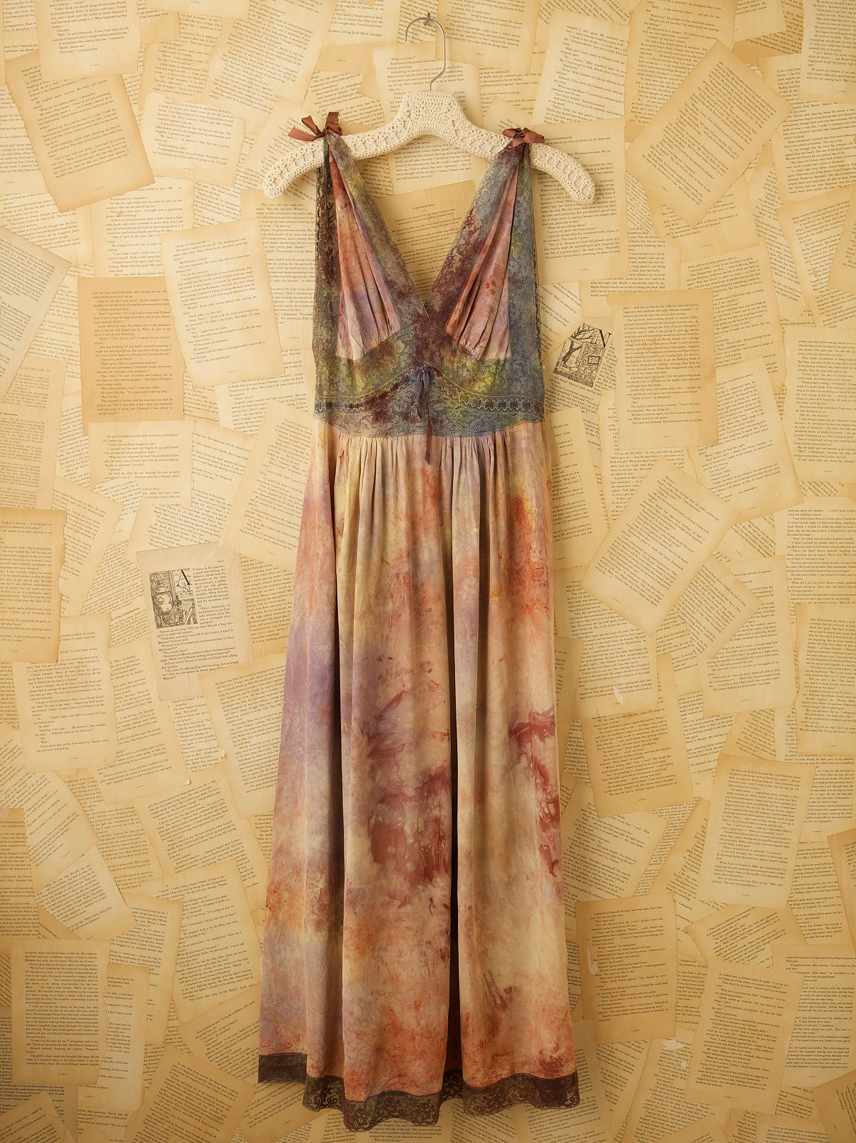 Vintage 40s Hand Dyed Rayon Maxi Dress