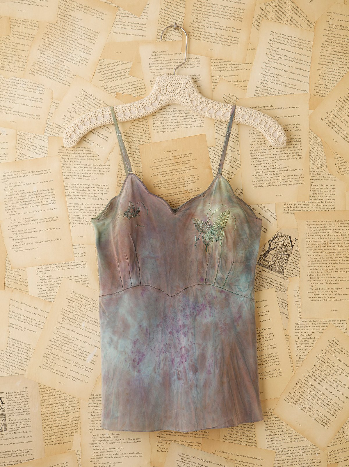 Vintage 1940s Hand Dyed Rayon Silk Tank Top