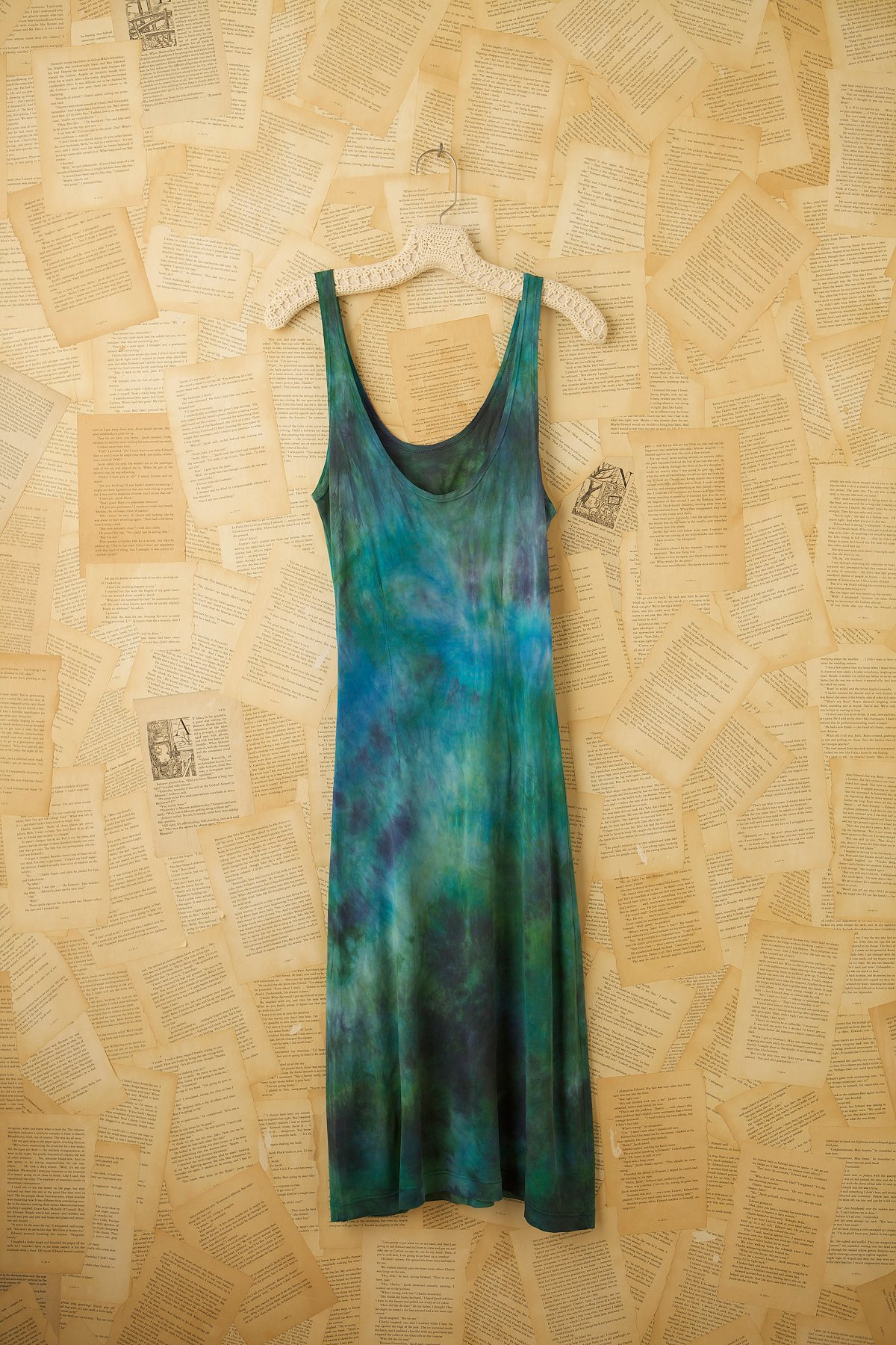 Vintage 1940s Hand Knit Rayon Tank Dress
