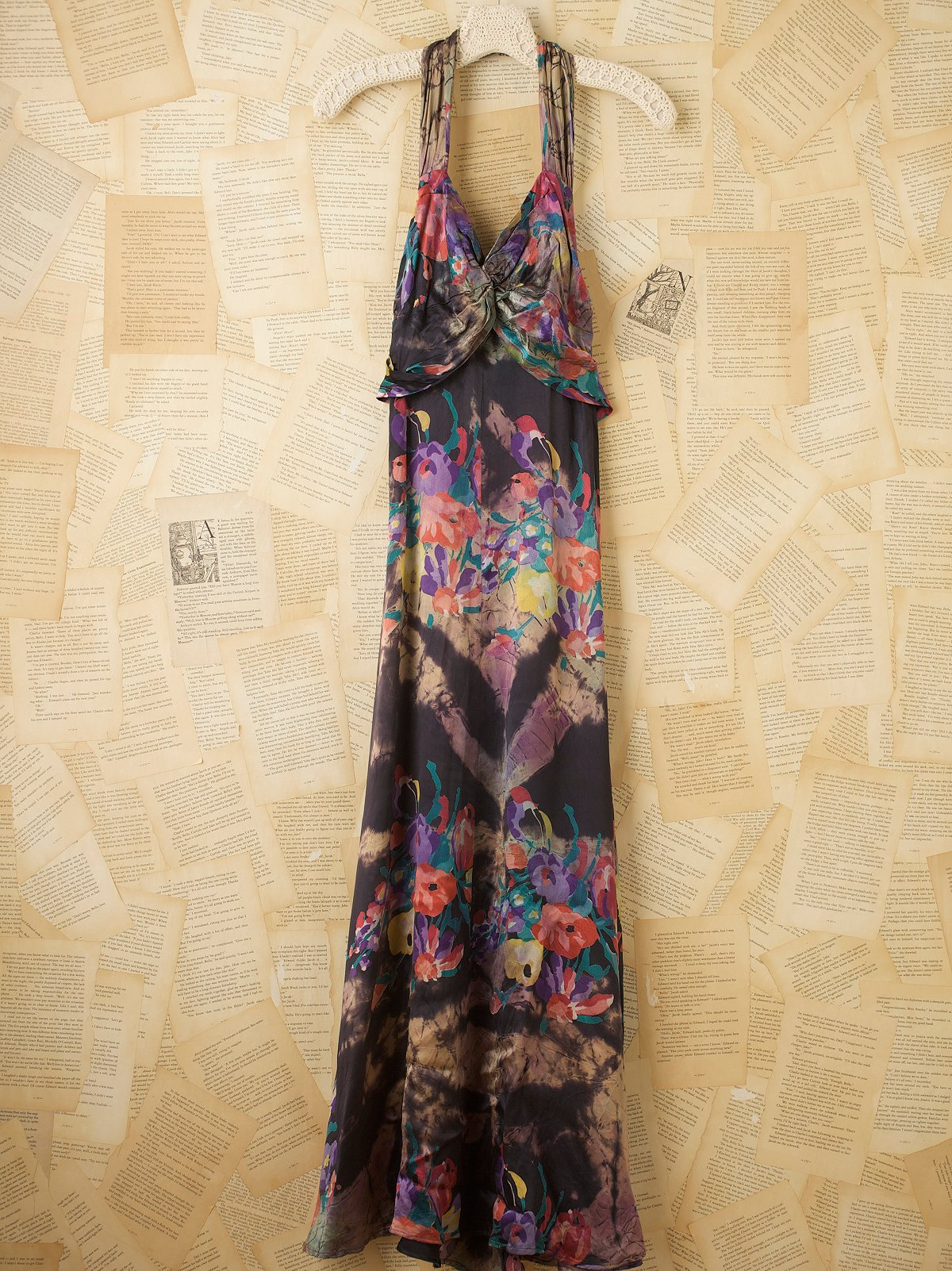 Vintage 1930s Silk Satin Floral Dress