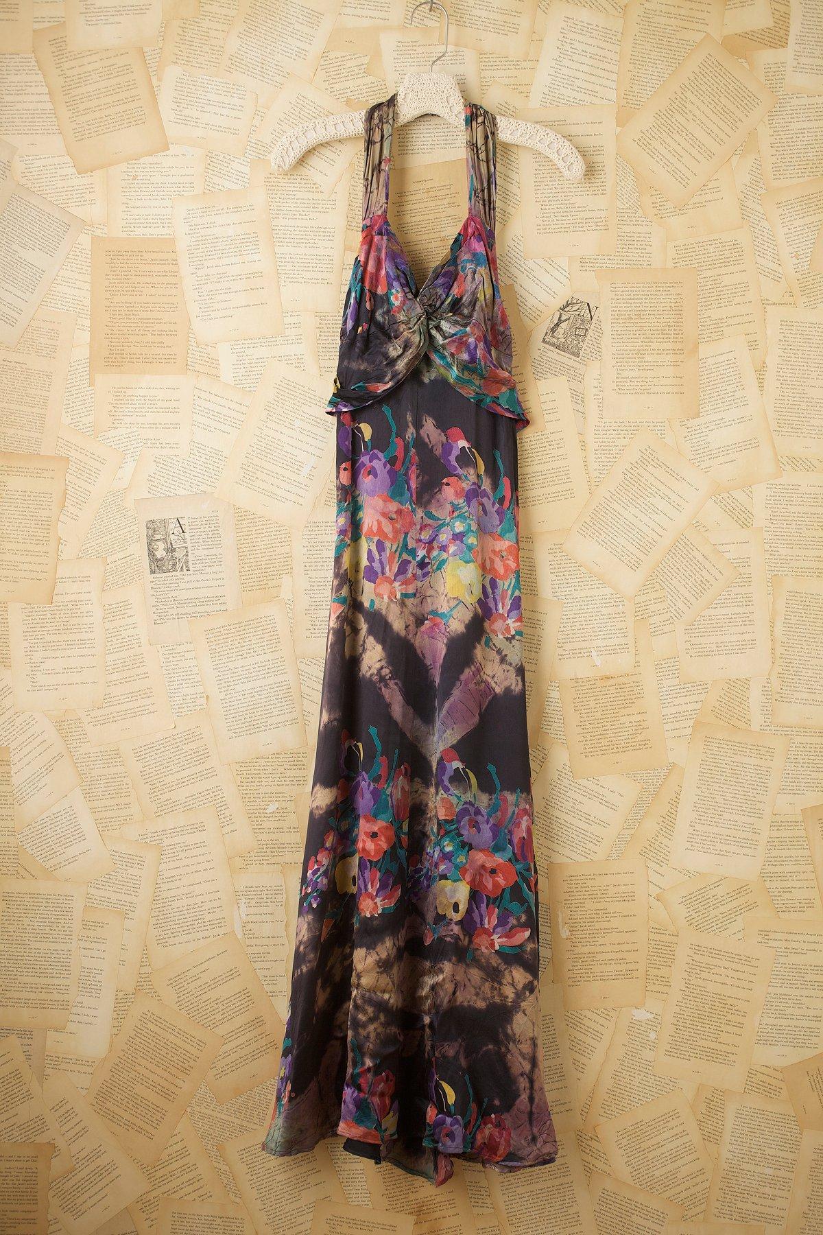Vintage 1930s Silk Satin Floral Dress