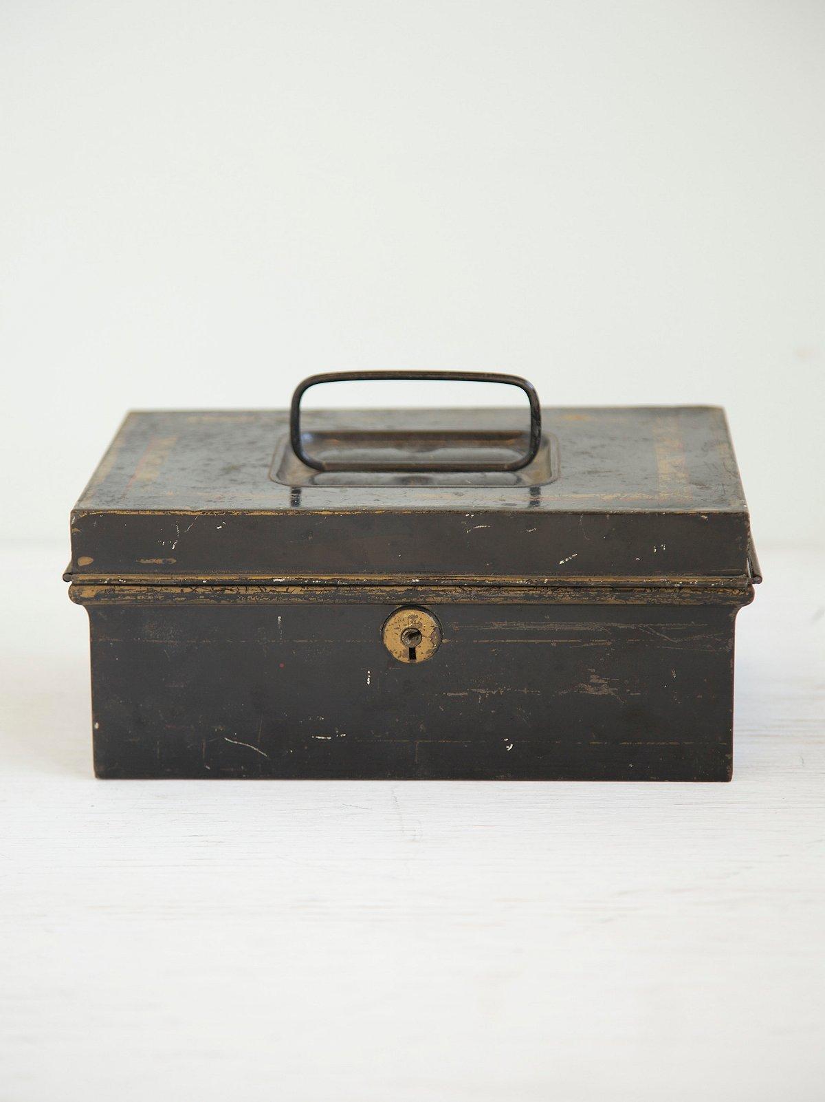 Vintage Black Deed Box