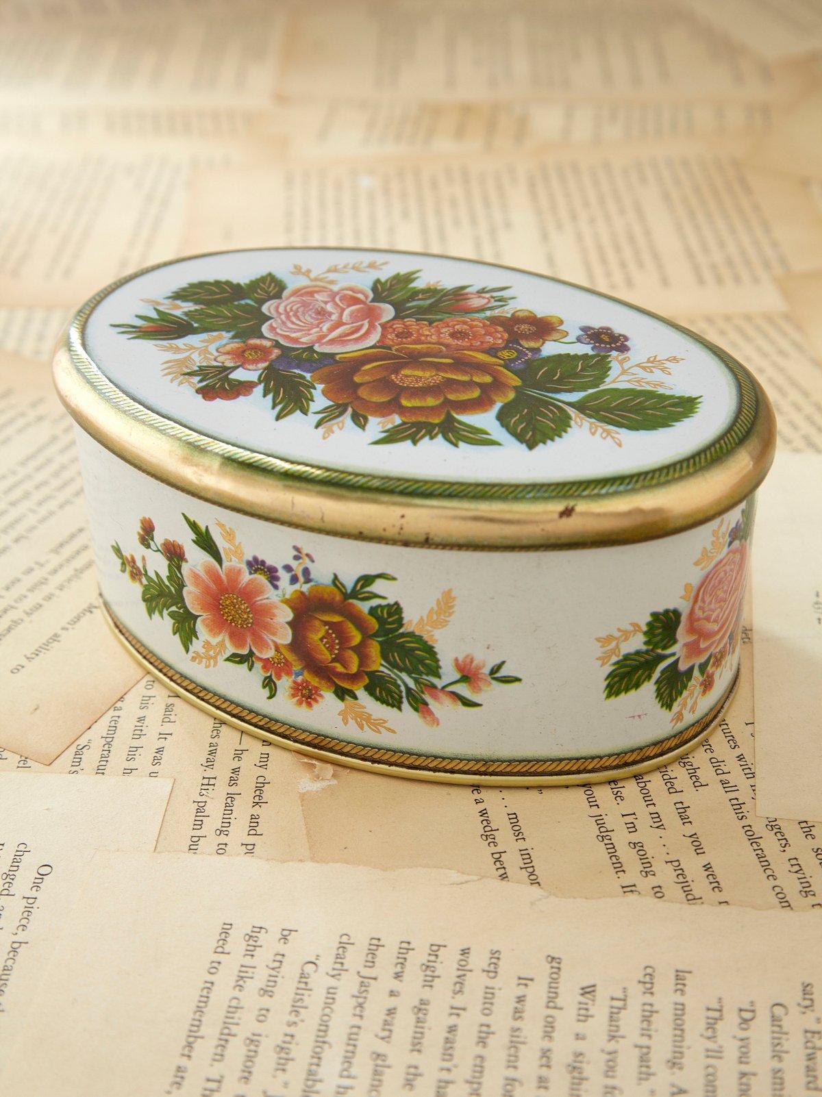 Vintage Oval Floral Tin