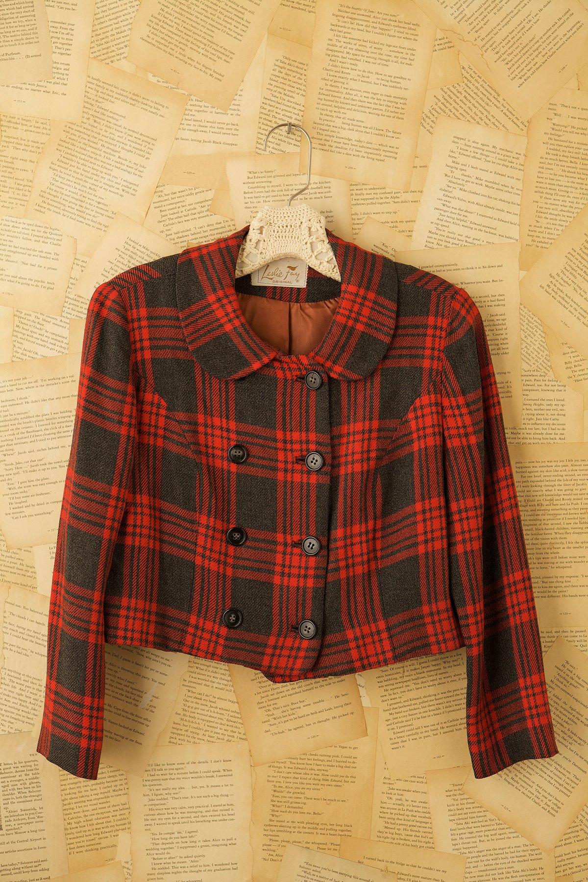 Vintage 60s Plaid Bolero Jacket
