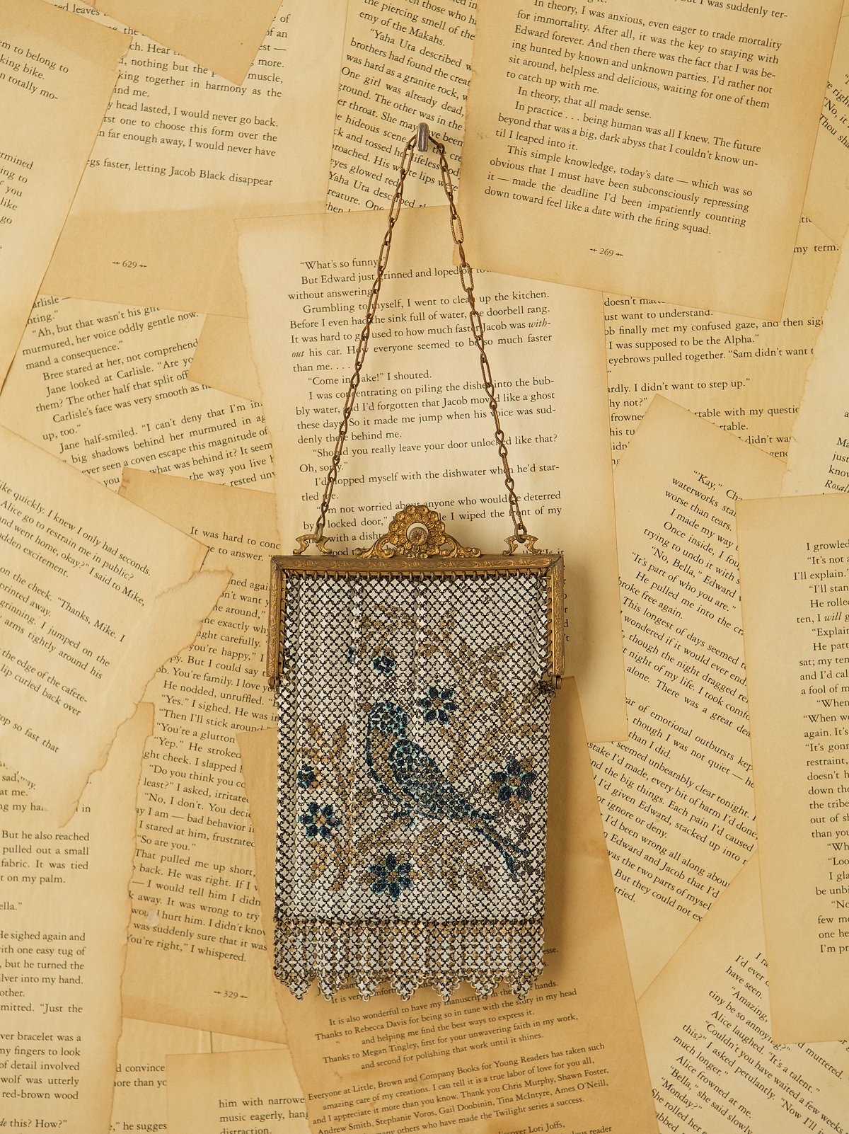 Vintage Metal Mesh Bag with Bird