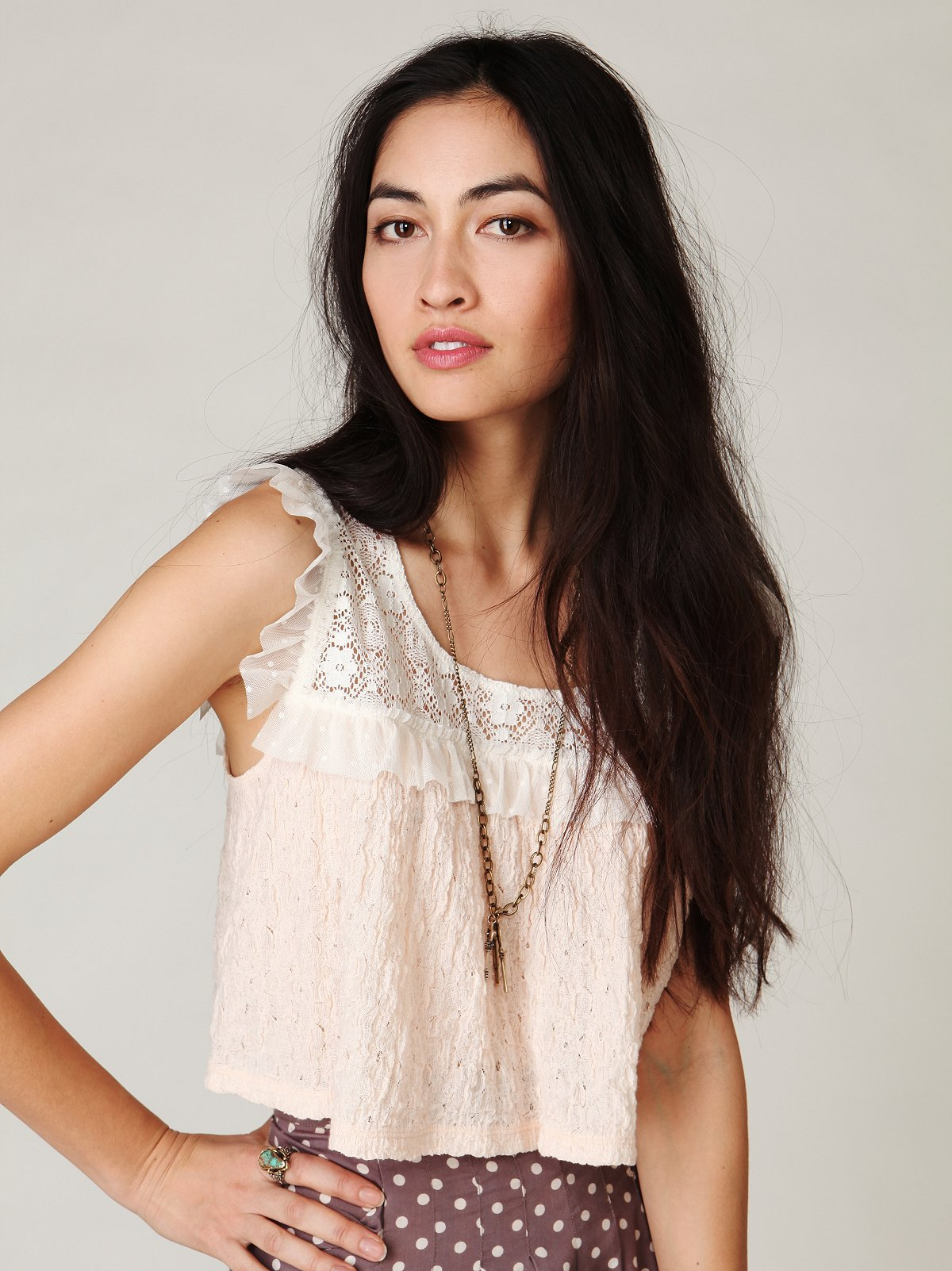Crepe Lace Crop Tee