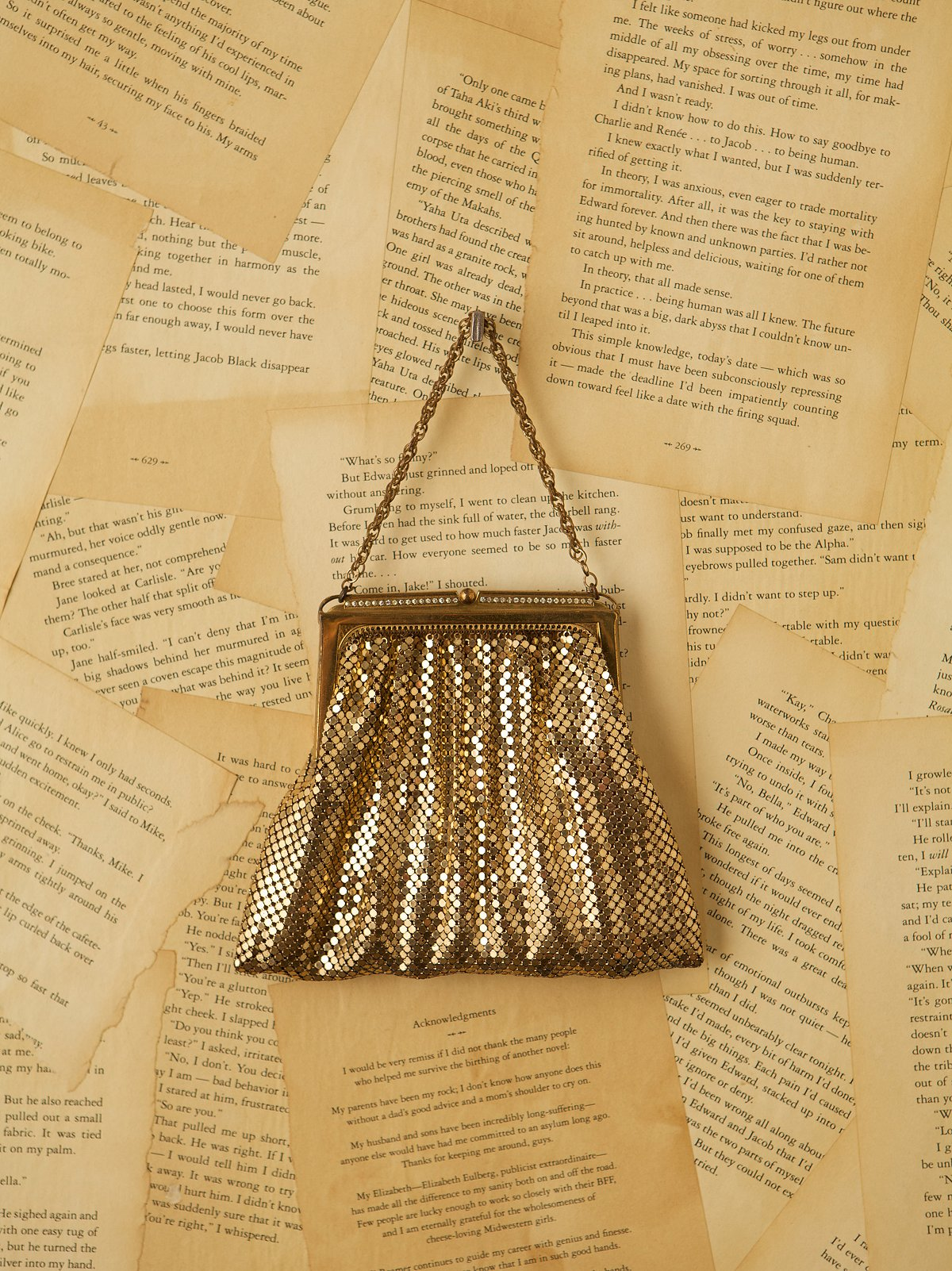 Vintage Gold Mesh Evening Bag