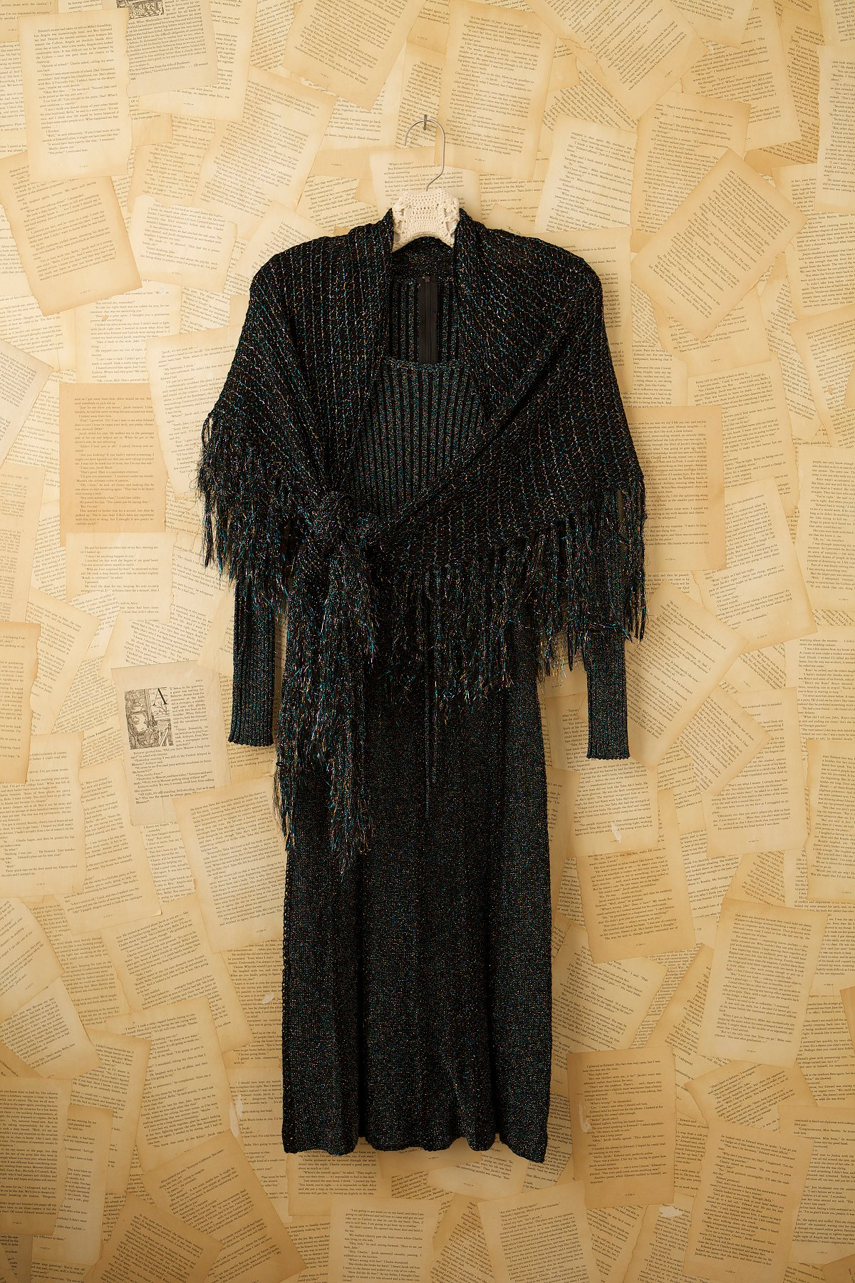 Vintage 70s Sparkle Dress with Scarf