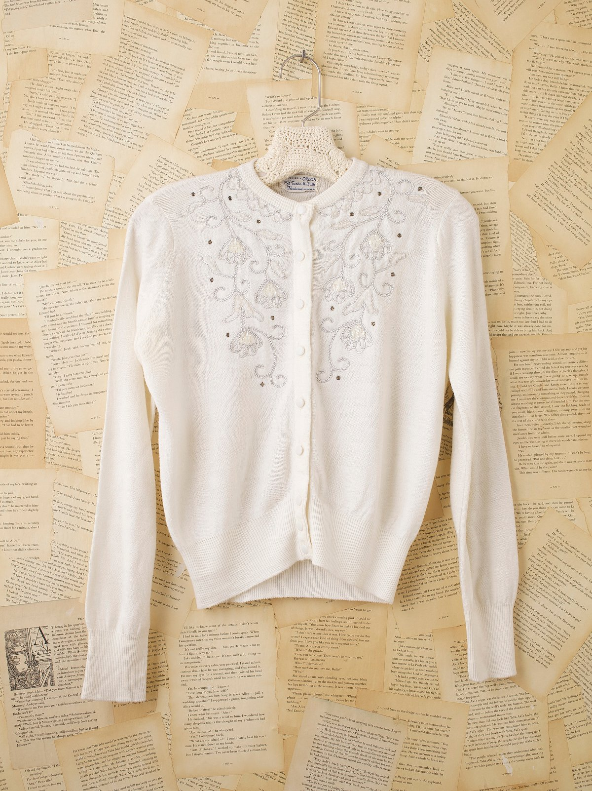 Vintage Beaded Button Down Sweater