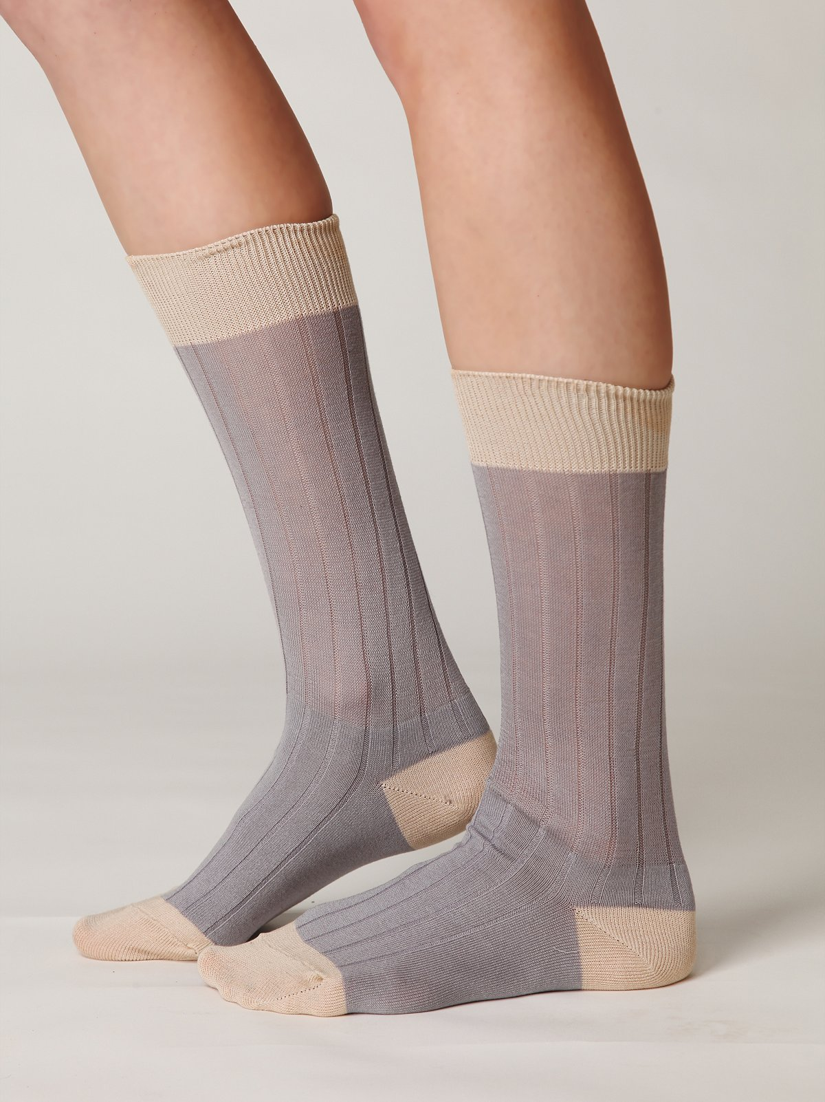 Cozet Sheer Colorblock Sock