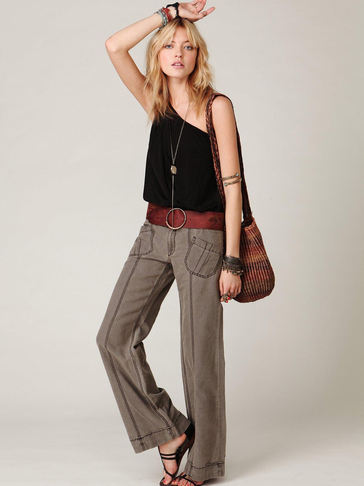 Linen Wideleg Trouser