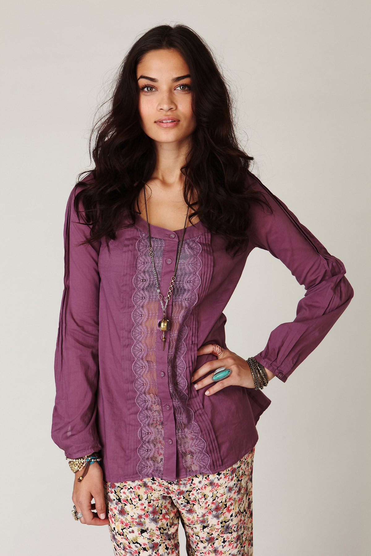 Long Sleeve Buttondown Lace Inset Top