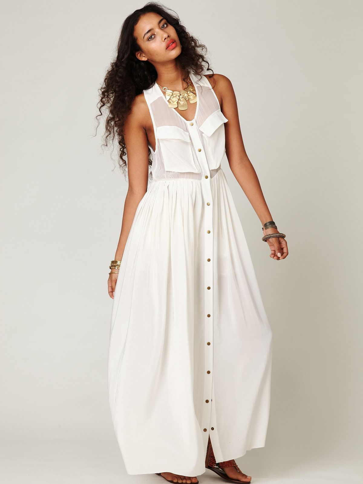 Buttondown Pleated Maxi Dress