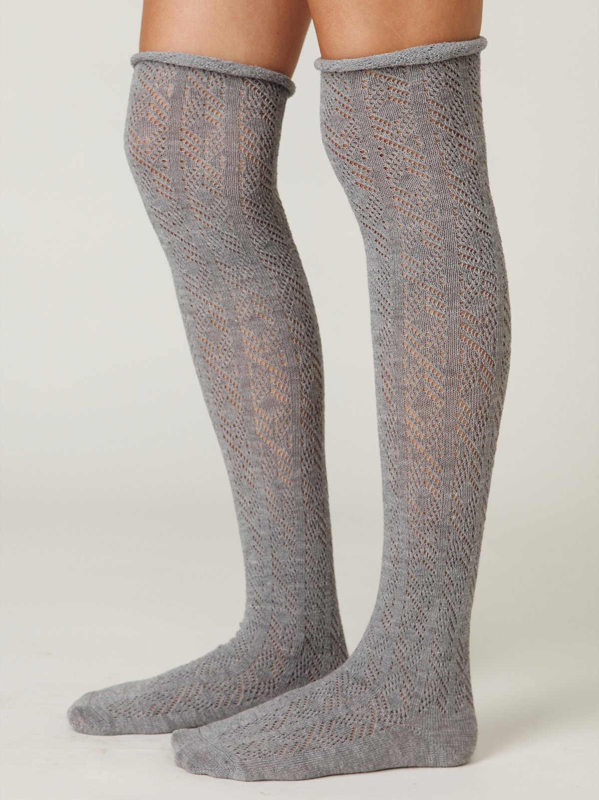 Pointelle Roll Top Tall Sock
