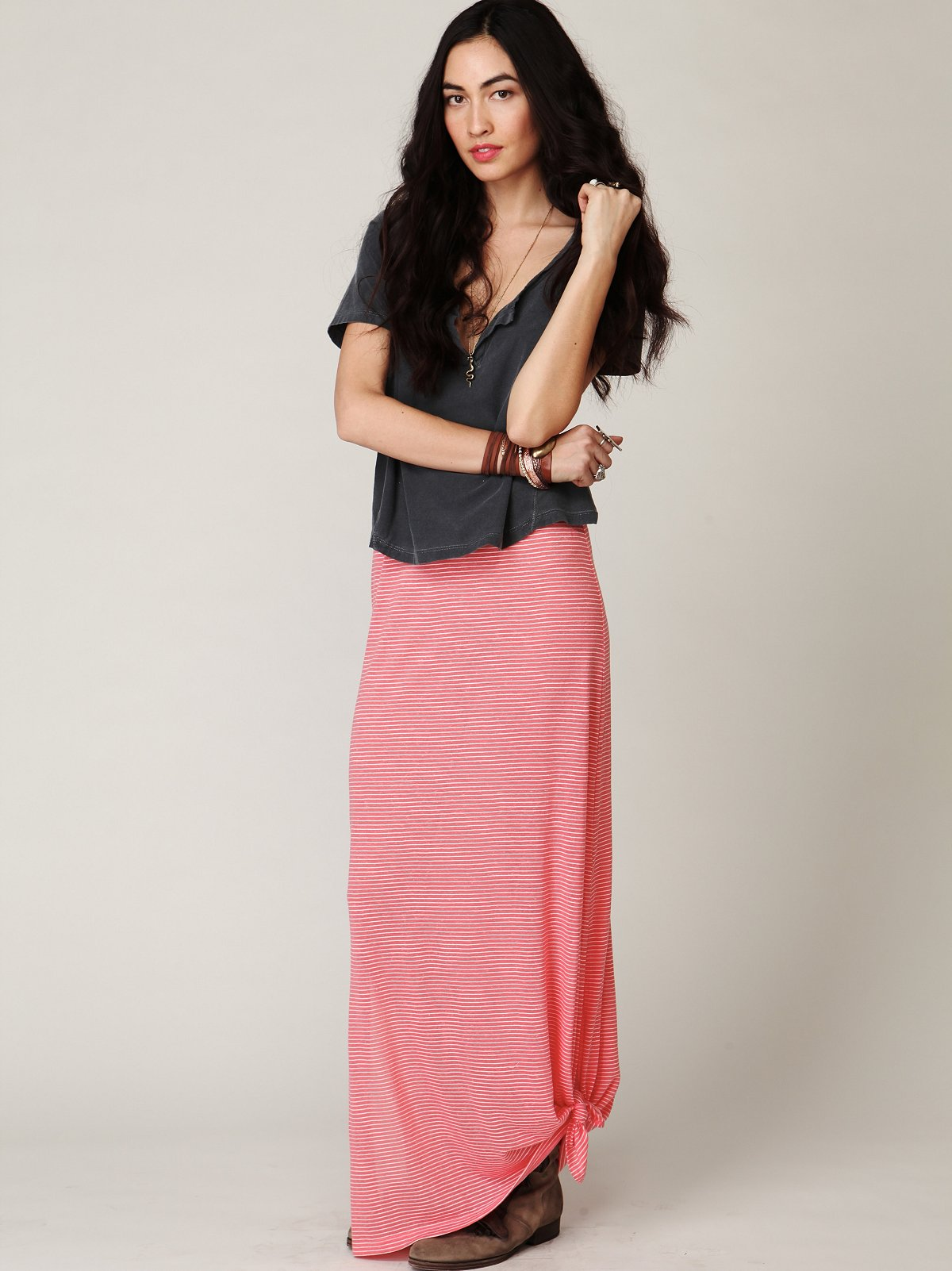 Column Stripe Maxi Skirt