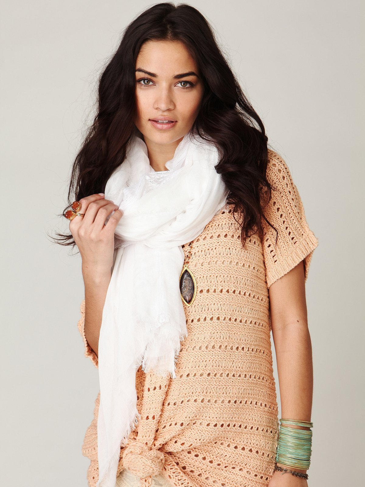 Oversized Lace Inset Scarf