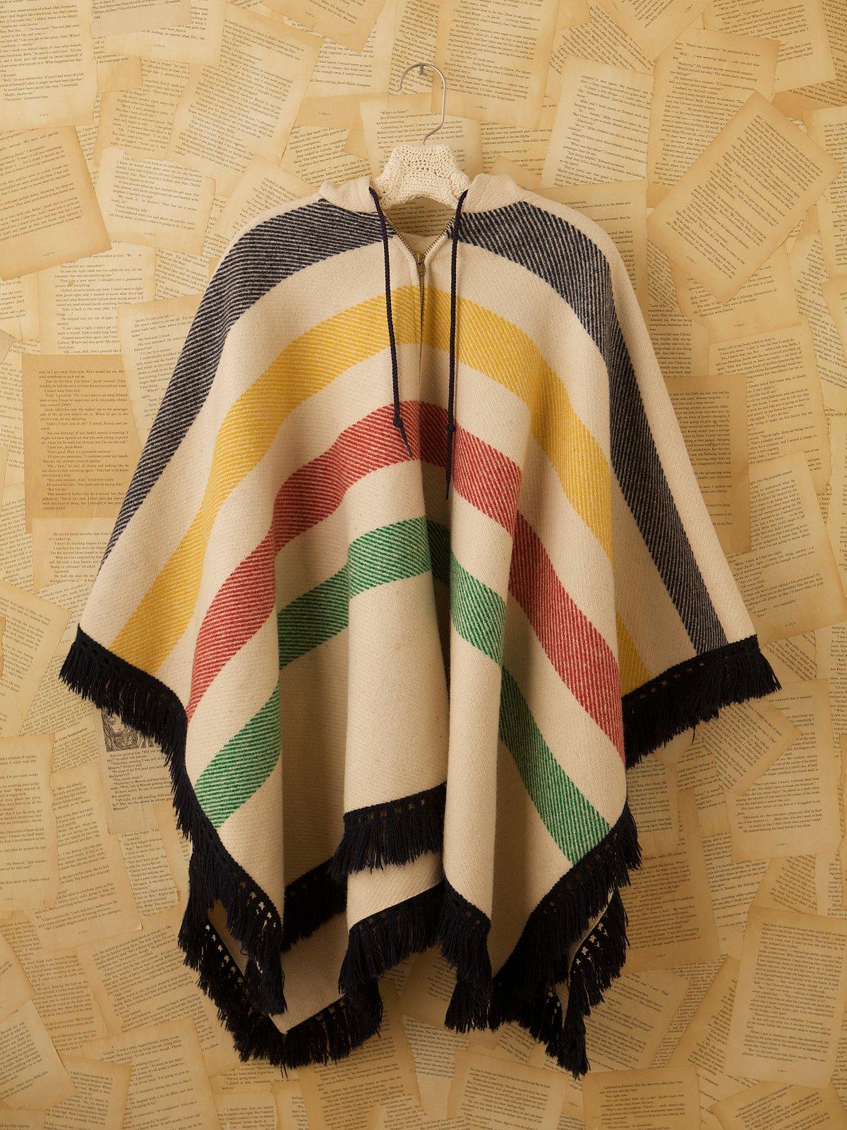 Vintage 1970s Wool Fringe Poncho