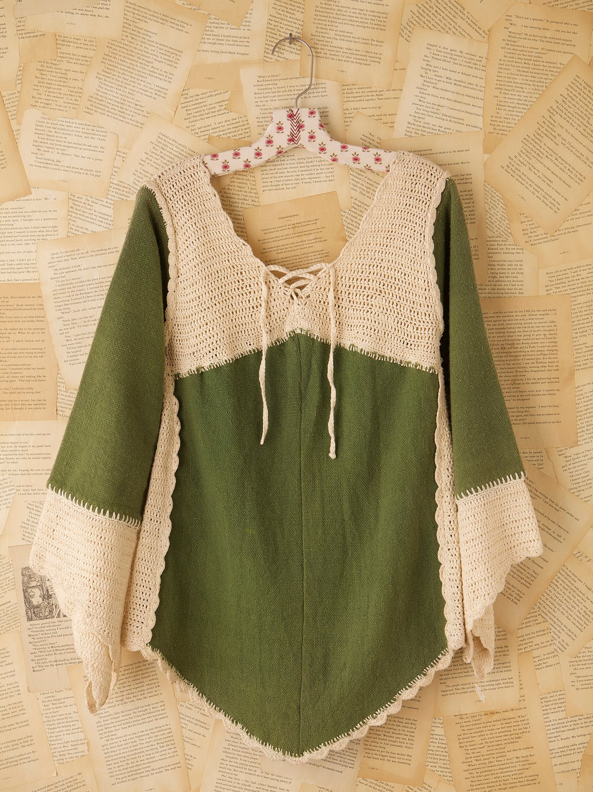 Vintage 1970s Crochet and Wool Tunic