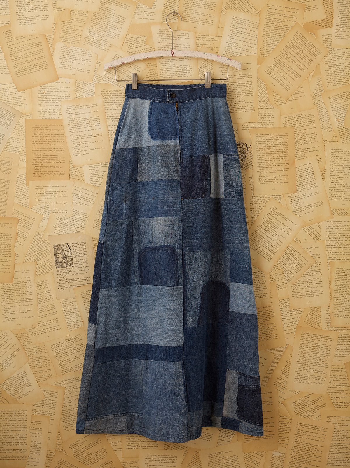 Vintage Denim Patchwork Maxi