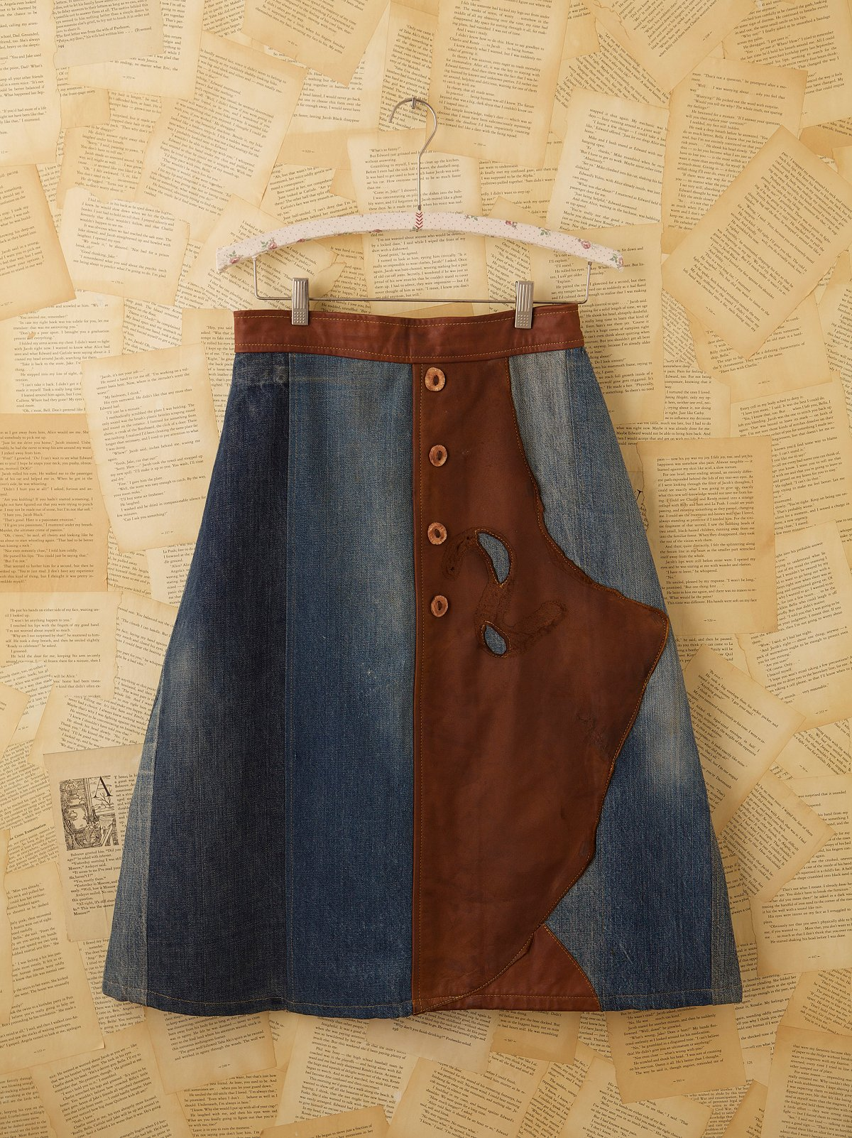 Vintage Leather and Denim Skirt