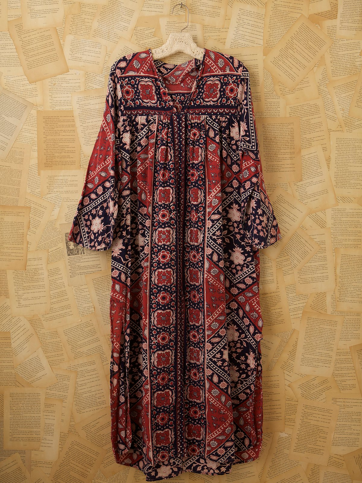 Vintage Long Sleeve Batik Dress