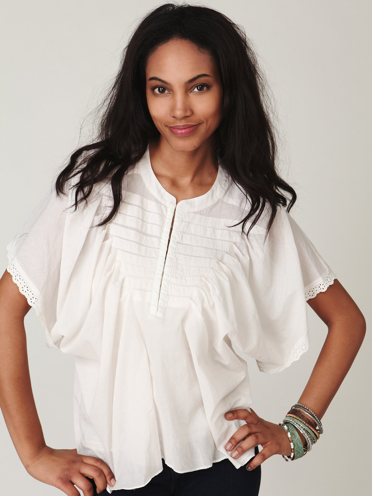 Pintucked Voile Top