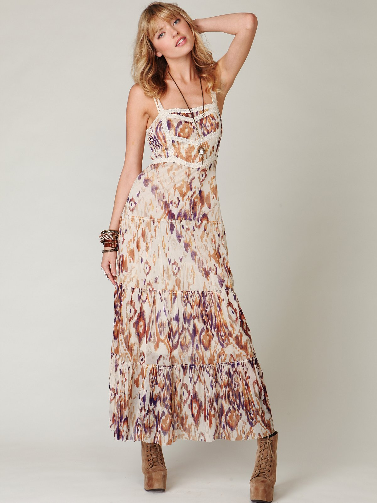 Printed Point d'Esprit Maxi Slip