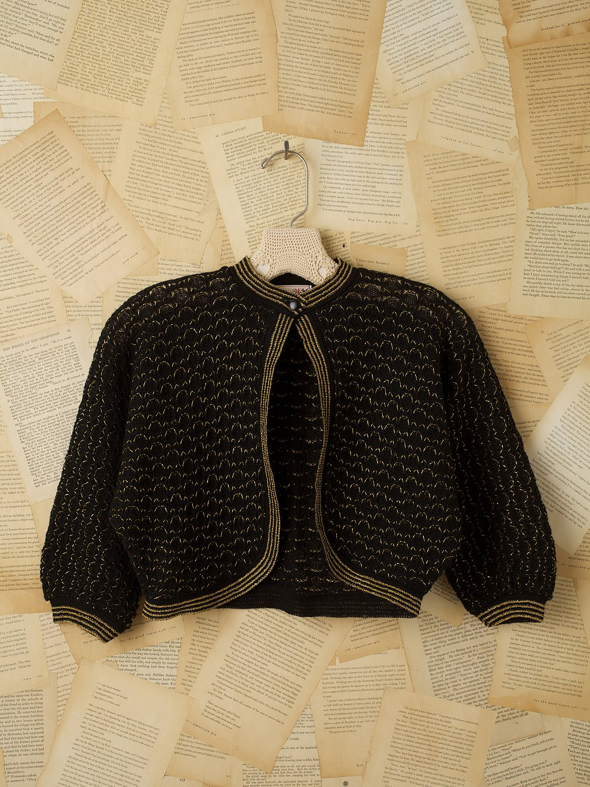 Vintage 1950s Black Gold Sweater Jacket