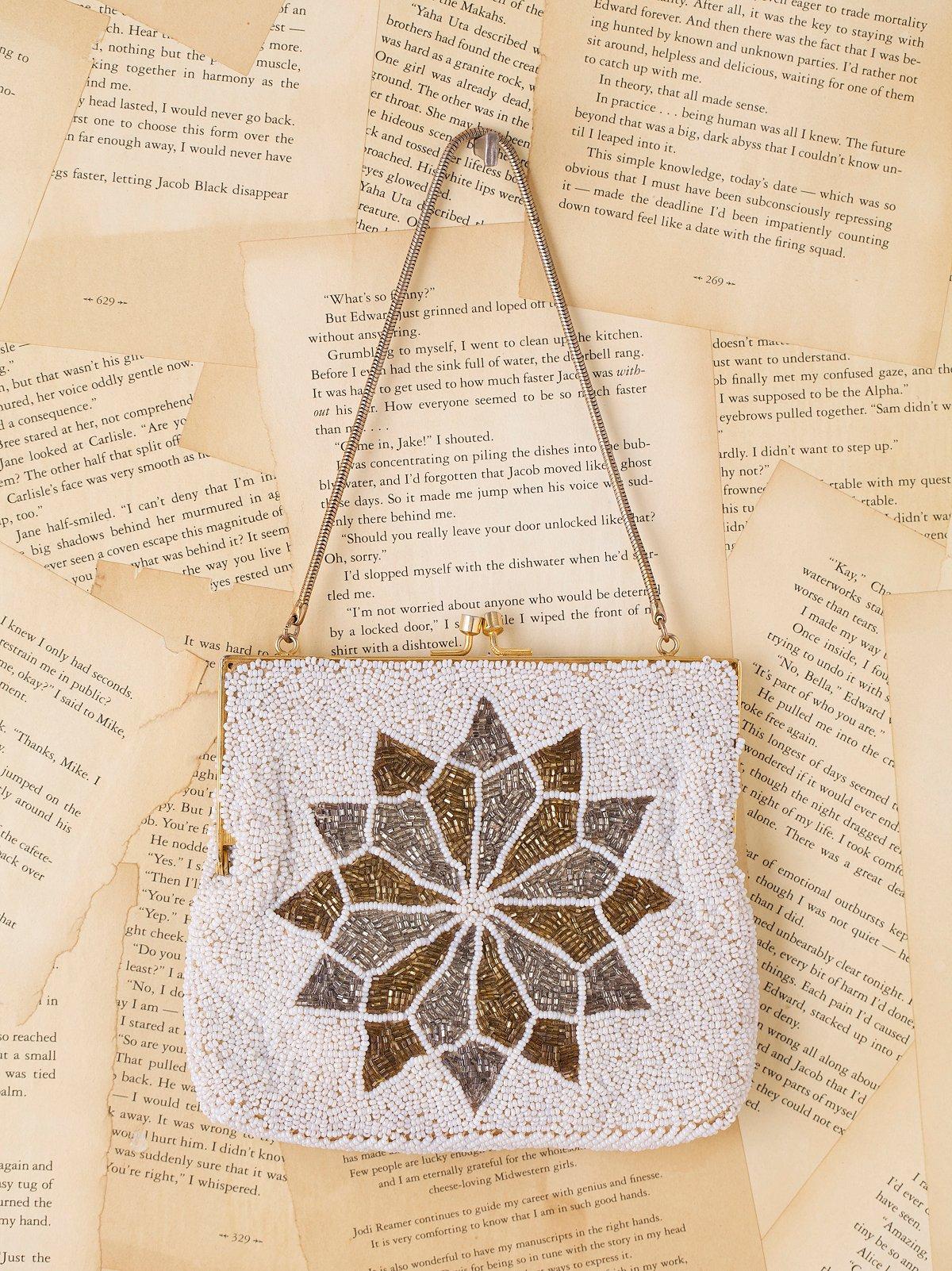 Vintage White Beaded Snowflake Bag