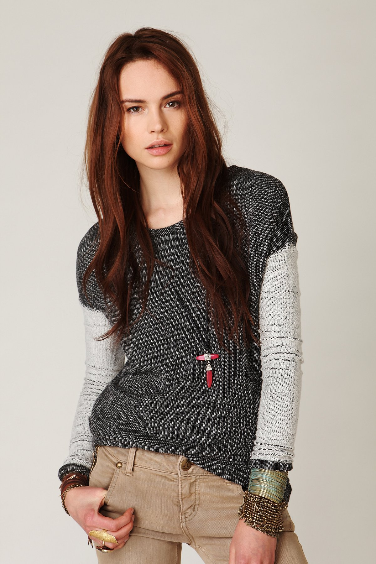 Two Tone High Low Pullover