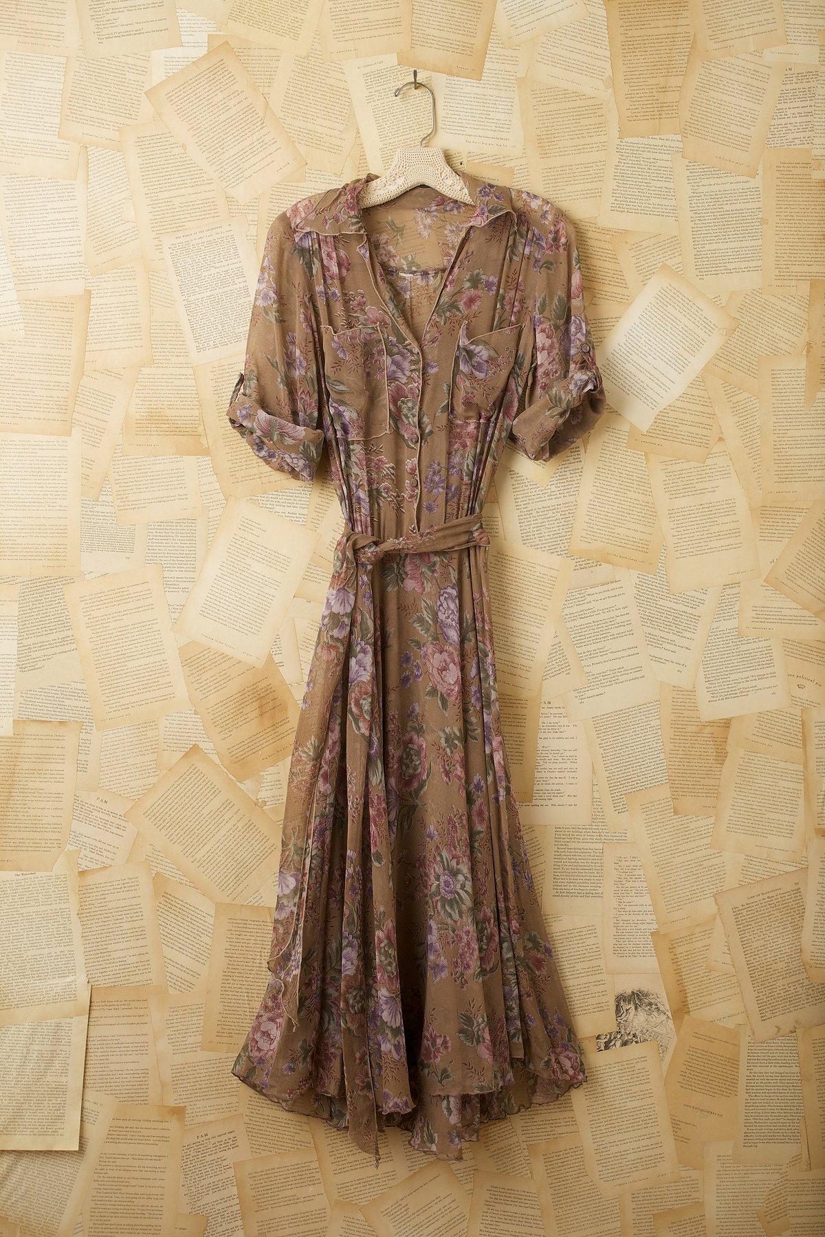 Vintage Floral Chiffon Dress