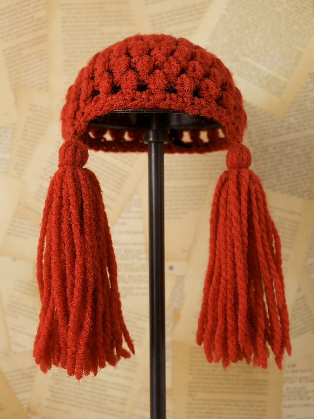 Vintage Red Yarn Hat