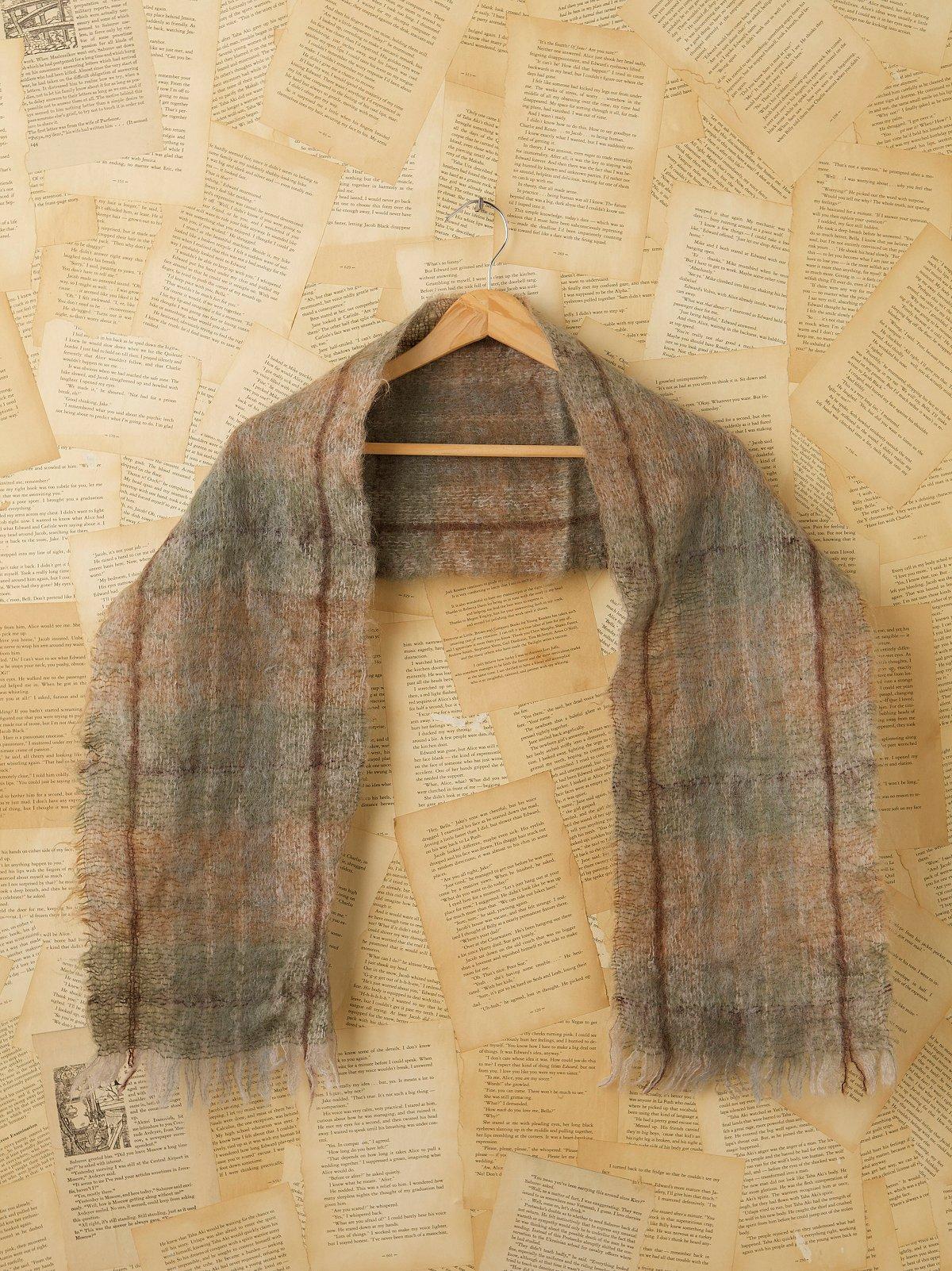 Vintage Plaid Mohair Scarf